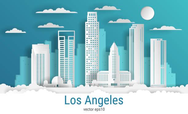 бумага вырезать стиль города лос-анджелеса, белая цветная бумага, вектор фондовой иллюстрации. городской пейзаж со всеми известными здания - los angeles stock illustrations