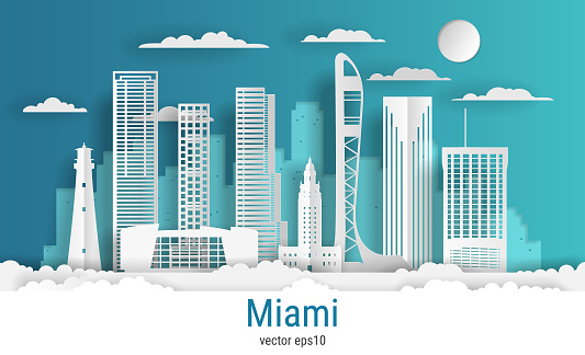 Paper cut style Miami city, white color paper, vector stock illustration. Cityscape with all famous buildings. Skyline Miami city composition for design