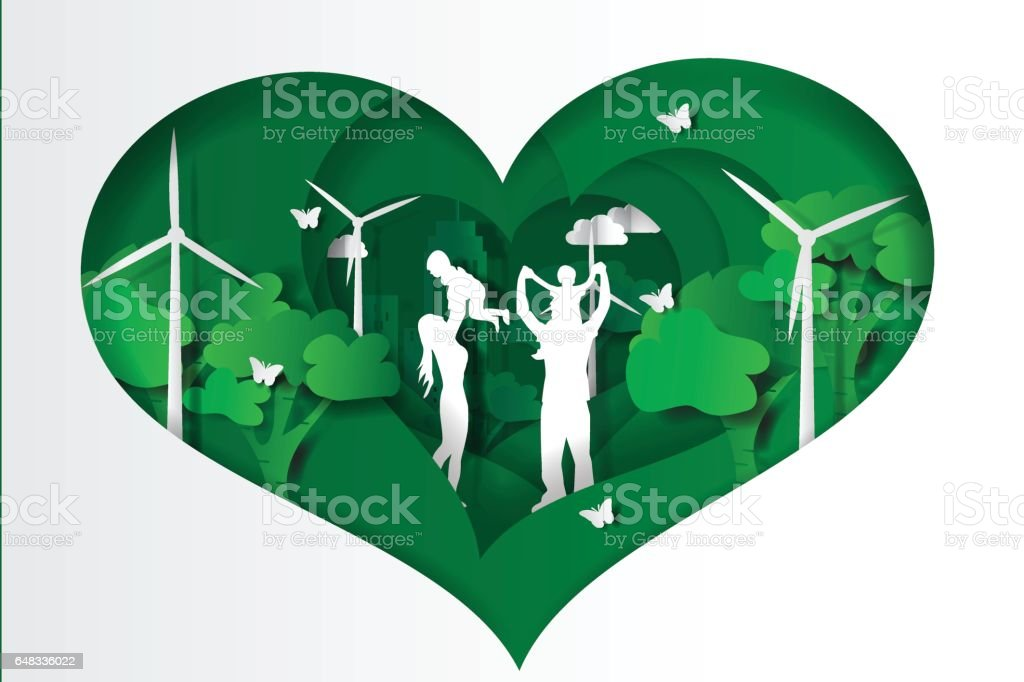 Paper cut style of  family having fun playing in the heart green town vector art illustration