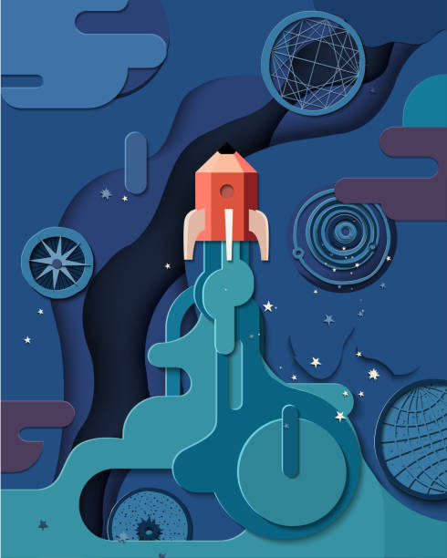 paper cut style of rocket flying in space, start up concept, spaceship - abstract of paper spaceship launch to space stock illustrations, clip art, cartoons, & icons