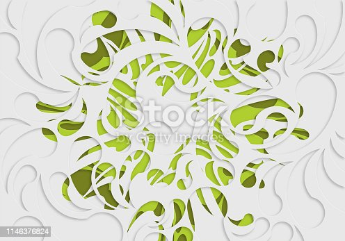 paper cut style plant floral pattern background