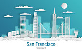 Paper cut style San Francisco city, white color paper, vector stock illustration. Cityscape with all famous buildings. Skyline San Francisco city composition for design