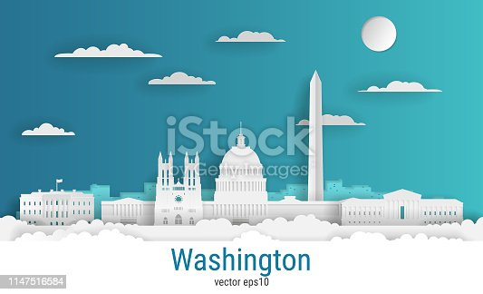 Paper cut style Washington city, white color paper, vector stock illustration. Cityscape with all famous buildings. Skyline Washington city composition for design