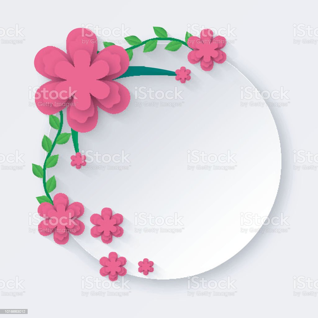 Paper Cut Style White Circle Frame Decorated With Green And Pink
