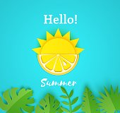 Paper cut summer card. Half sun and yellow lemon fruits on a blue background with jungle leaves. Vector illustration origami style