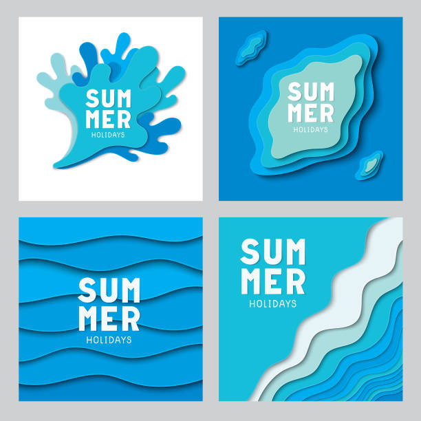 종이 잘라 여름 컬렉션 - summer background stock illustrations