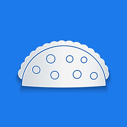 Paper cut Taco with tortilla icon isolated on blue background. Traditional mexican fast food menu. Paper art style. Vector Illustration