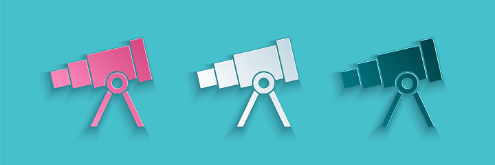 Paper cut Telescope icon isolated on blue background. Scientific tool. Education and astronomy element, spyglass and study stars. Paper art style. Vector