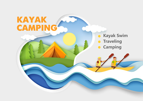 Paper cut tent on river bank, male characters paddling using oars in kayak boat. Vector illustration in paper art style.
