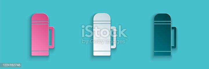istock Paper cut Thermos container icon isolated on blue background. Thermo flask icon. Camping and hiking equipment. Paper art style. Vector Illustration 1224152745
