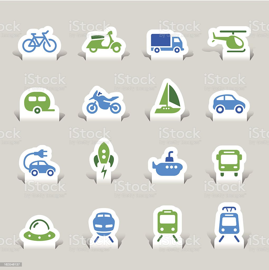 Paper Cut - Transportation icons vector art illustration