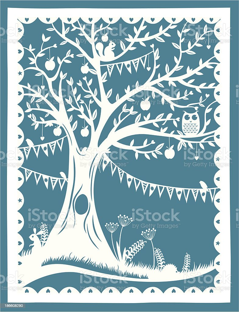 Paper Cut Tree royalty-free stock vector art