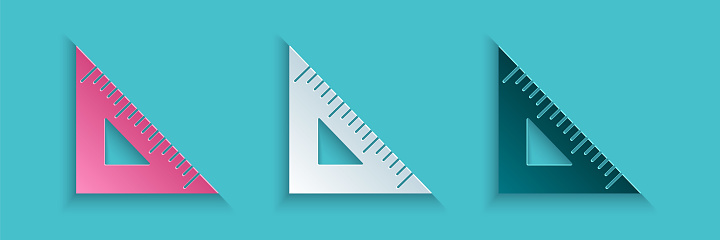 Paper cut Triangular ruler icon isolated on blue background. Straightedge symbol. Geometric symbol. Paper art style. Vector Illustration