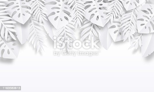 Paper cut tropic background. Summer trendy poster with exotic leaves, summer vacation backdrop. Vector nature drawing art wallpaper