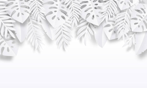 paper cut tropic background. summer trendy poster with exotic leaves, summer vacation backdrop. vector nature wallpaper - artsy backgrounds stock illustrations