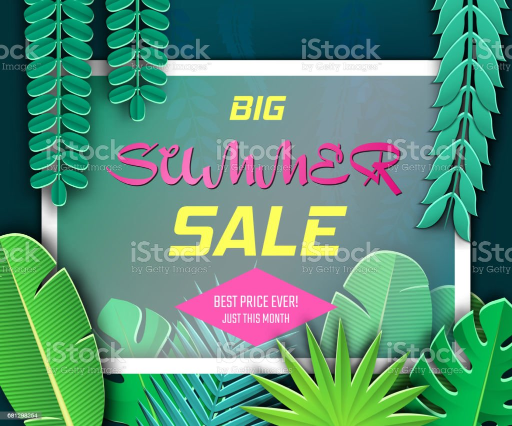 Paper Cut Tropical5-01 royalty-free paper cut tropical501 stock vector art & more images of advertisement