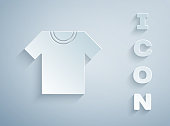Paper cut T-shirt icon isolated on grey background. Paper art style. Vector.