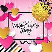 Paper cut Valentine's Day background