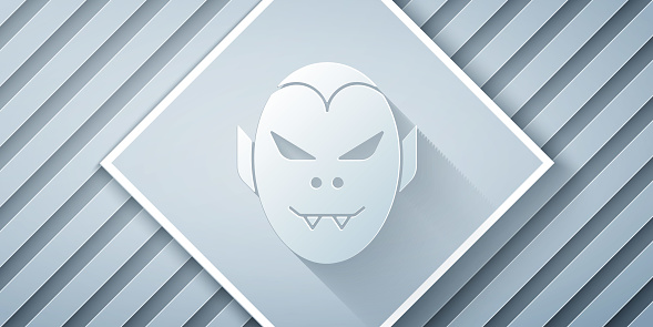 Paper cut Vampire icon isolated on grey background. Happy Halloween party. Paper art style. Vector