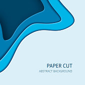Blue cut out paper effect abstract background. Square vector design layout, banner templates.
