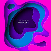 Paper cut vector background. Paper art is violet and blue colors. Square template with paper figures. Bright modern design for poster, flyer, poster, postcard.
