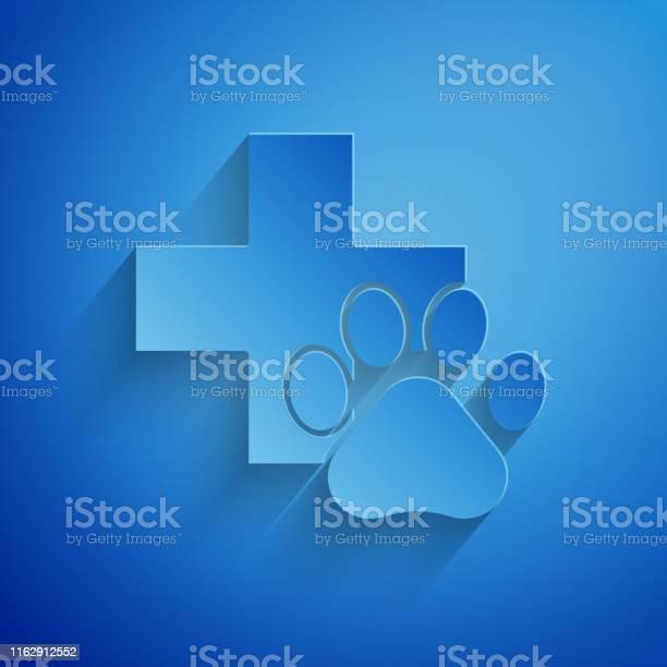 Paper cut veterinary clinic symbol icon isolated on blue background vector id1162912552?b=1&k=6&m=1162912552&s=612x612&h=409rmon2iacnx3c3nozye0swuvvd3rlpzjb 8e3c5ag=