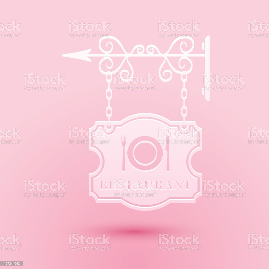 Paper Cut Vintage Signboard Outdoor Advertising With Text Restaurant And Cutlery Dish Fork Knife Icon Isolated On Pink Background Restaurant Sign Paper Art Style Vector Stock Illustration Download Image Now Istock