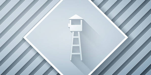 Paper cut Watch tower icon isolated on grey background. Prison tower, checkpoint, protection territory, state border, military base. Paper art style. Vector Illustration Paper cut Watch tower icon isolated on grey background. Prison tower, checkpoint, protection territory, state border, military base. Paper art style. Vector Illustration architecture borders stock illustrations