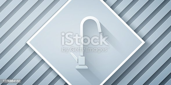 istock Paper cut Water tap icon isolated on grey background. Paper art style. Vector Illustration 1226884152