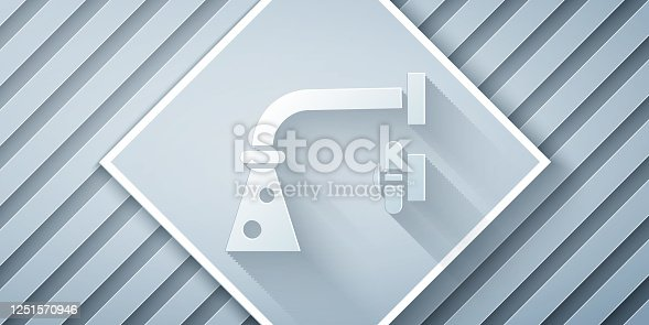 istock Paper cut Water tap icon isolated on grey background. Paper art style. Vector Illustration 1251570946