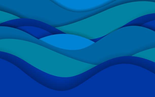 paper cut waves - river paper stock illustrations, clip art, cartoons, & icons