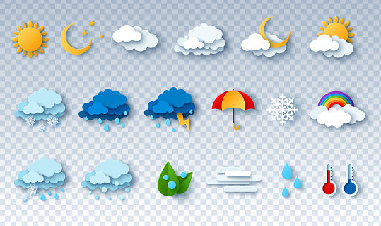 Paper cut weather icons