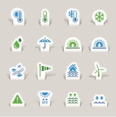Vector illustration, Each icon is available in green and blue and can be used at any size. You can easily change the colors. Shadows could be moved or deleted. Files included: Vector EPS 8,  HD JPEG 4000 x 4000