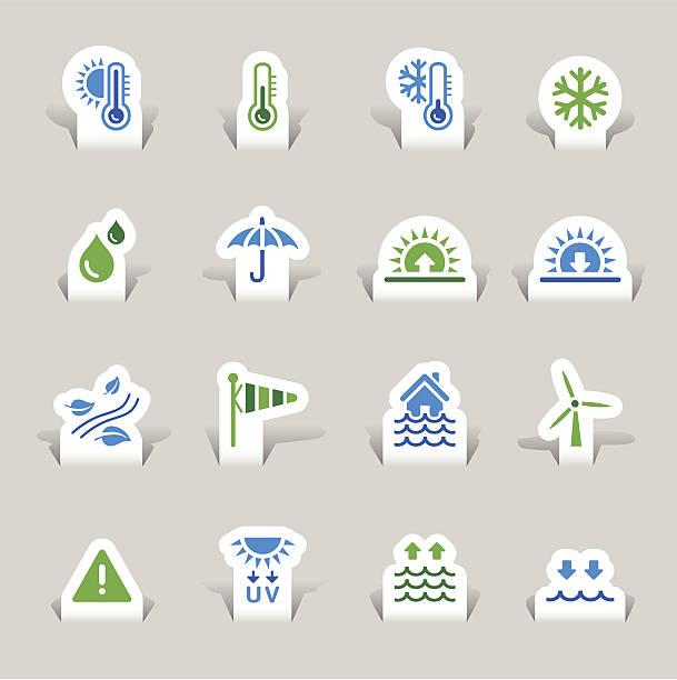 papier schnitt-wetter-icons - schneeflocke sonnenaufgang stock-grafiken, -clipart, -cartoons und -symbole