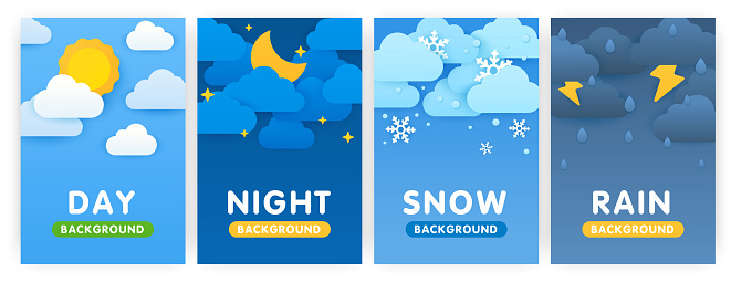 Paper cut weather vertical posters concept. Weather forecast app widgets. Day, night, snow and rain. Cartoon flat background for smartphone applications. Empty space for text.