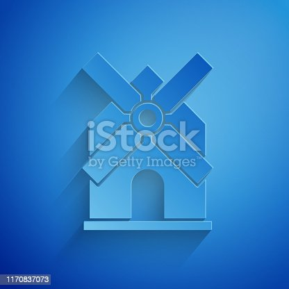 Paper cut Windmill icon isolated on blue background. Paper art style. Vector Illustration