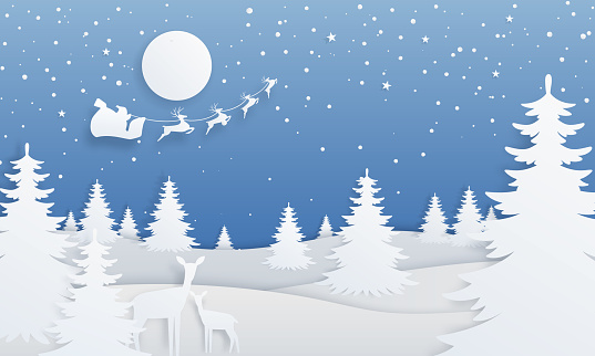 Paper cut winter landscape. Cartoon paper scene with spruce trees, starry night, deer and Santa Claus. Vector Christmas background