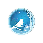 Paper cut winter landscape with bird sitting on a branch. Christmas origami concept. Vector illustration in modern papercut style.