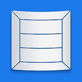 Paper cut Wooden box icon isolated on blue background. Paper art style. Vector Illustration