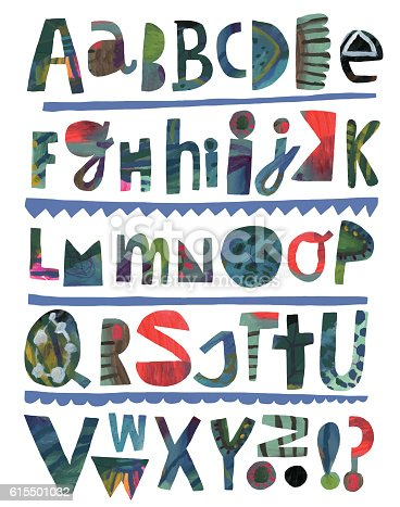 Colourful paper cutout alphabet. Abstract, colourful and painted. Vector illustration