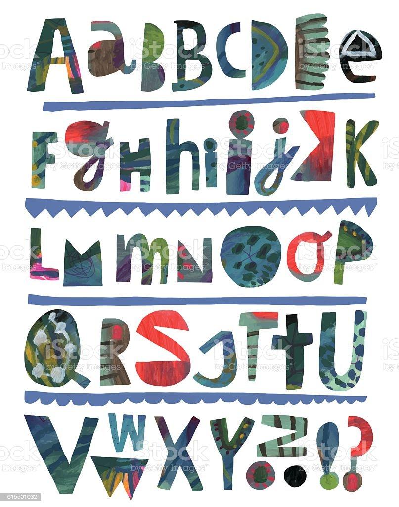 Paper cutout alphabet vector art illustration