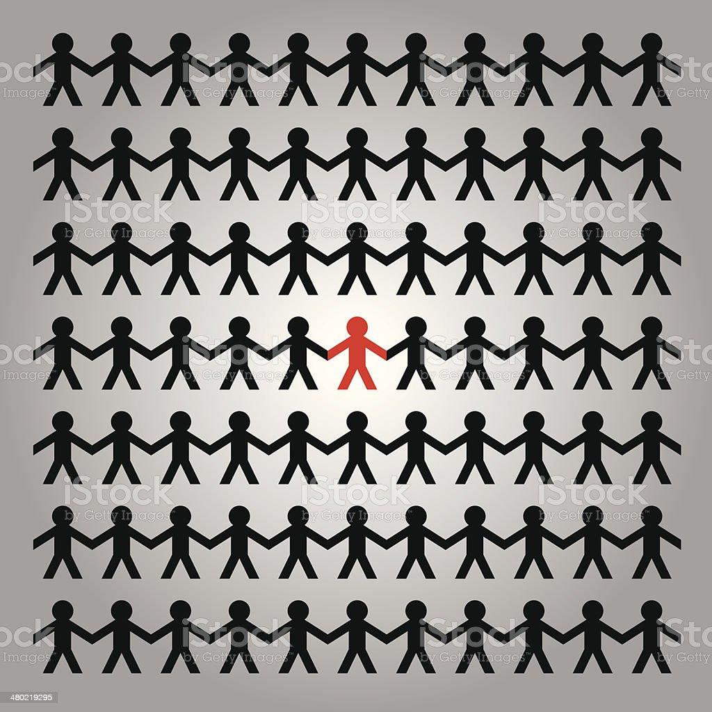 Paper Cutout People vector art illustration