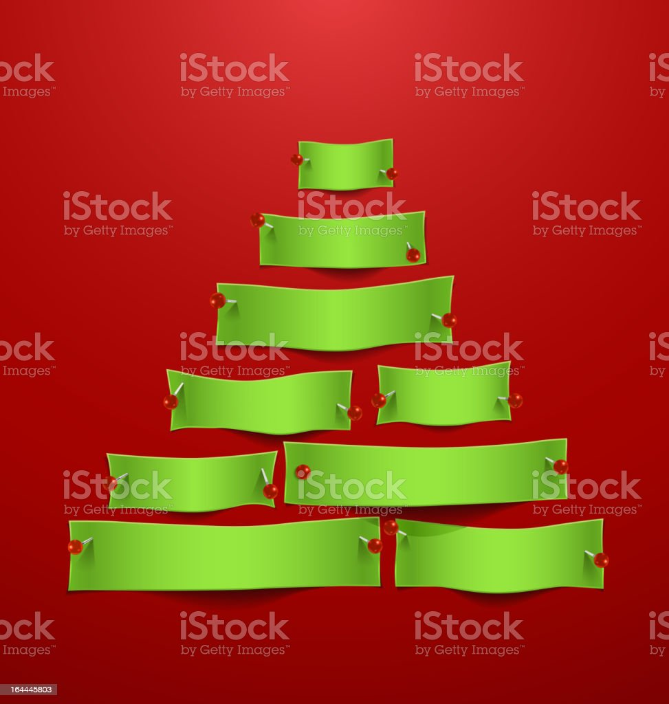 Paper cuts in the shape of Christmas tree. royalty-free stock vector art