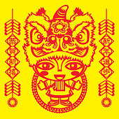 Paper Cutting Style girl wearing Chinese traditional lion Head hat.