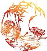 Vector illustration of Chinese Style Paper Cutting Of Sunset Crane. Whole graphic is merged in single object. Change color is easy, simply select the Paper Cutting Of Sunset and change the gradient's color.
