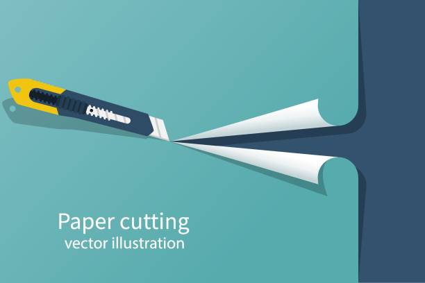 Paper cutting. Stationery office knife Paper cutting. Stationery office knife. Vector illustration flat design. Isolated on white background. utility knife stock illustrations