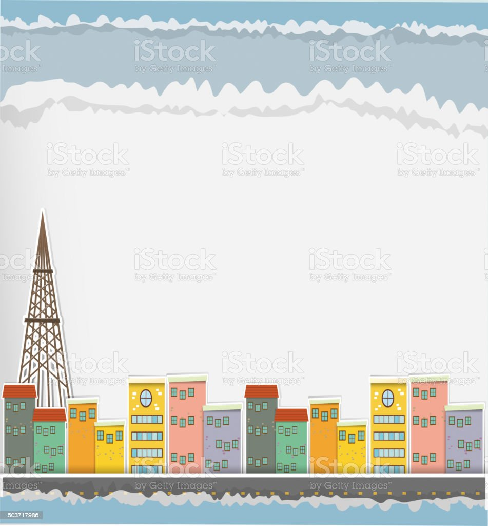 Paper design with buildings in the city vector art illustration