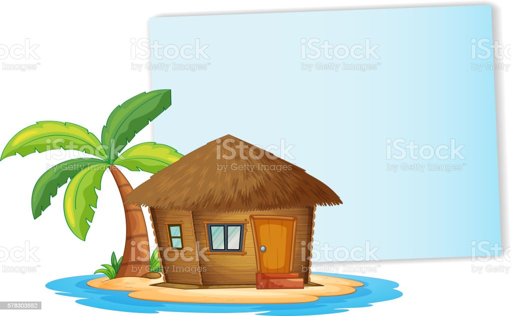 Paper design with bungalow on the island vector art illustration