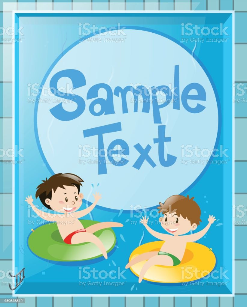Paper design with kids in pool royalty-free paper design with kids in pool stock vector art & more images of art