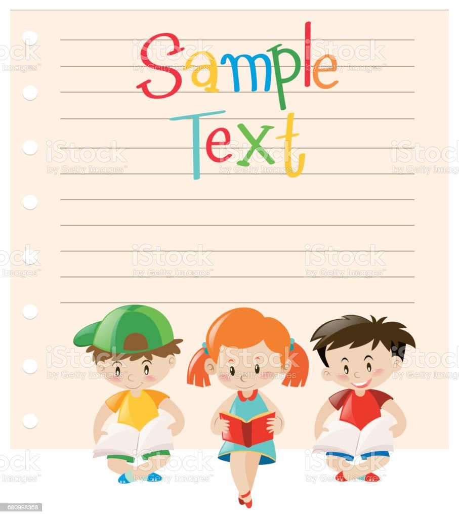 Paper design with kids reading books royalty-free paper design with kids reading books stock vector art & more images of art